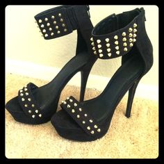 "New Fierce Spiked Platform Sandals Like new platform spiked sandals from Forever 21. 5"" heel with platform, sexy spiked ankle strap with hidden back zipper. Shoes Sandals"