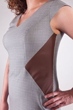 Work Dress with Leather Cut Insert - Woman