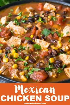 Mexican Chicken Soup Mexican Chicken Soup brims with tender chicken, fresh vegetables, and southern spices. The unique cilantro, cheese, and chip topping seals the deal! Mexican Chicken Recipes, Chicken Soup Recipes, Mexican Chicken Stew, Mexican Gumbo Recipe, Chicken Vegetable Soup Crockpot, Mexican Vegetable Soup, Keto Chicken, Turkey Soup, Turkey Broth