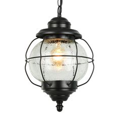 Globe Hanging Pendant Light Fixture Outdoor Ceiling Lighting with Seeded Glass Shade