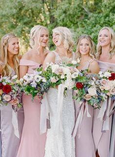 Bridal party photos with mauve tones