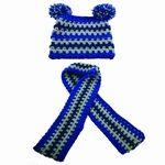 prachtige set muts en sjaal gehaakt blauw & grijs