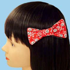 Creepy Cute Red Skull Crossbones Hair Bow Clip Barrette Puffy Bow Black White
