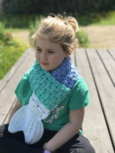 Mermaid Tail Scarf Crochet pattern by Lauralee Wellman Embrace & unleash your inner mermaid with a mermaid tail scarf that will add a little whimsy and magic, even on those cold fall/winter days. Crochet Kids Scarf, Crochet Scarves, Crochet For Kids, Crochet Clothes, Kids Poncho Pattern, Crochet Poncho Patterns, Free Pattern, Hood Pattern, Knitting Patterns