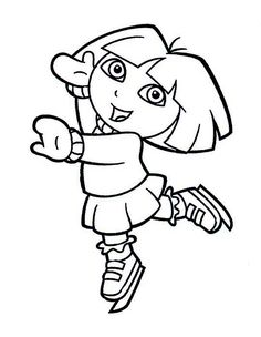 Dora the Explorer coloring page to color for free Online Coloring Pages, Cute Coloring Pages, Cartoon Coloring Pages, Coloring Pages To Print, Free Printable Coloring Pages, Coloring Books, Dora Drawing, Drawing For Kids, Coloring Sheets For Kids