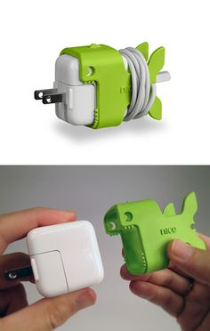 Cute way to organize your iPad charger cord