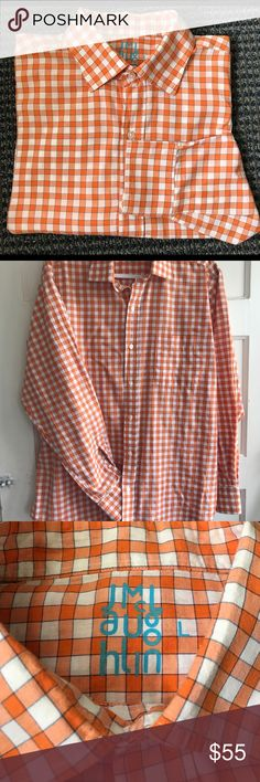 J McLaughlin men's long button down sleeve shirt J McLaughlin long sleeve button down plaid shirt. Summer weight cotton  (I love the feel of this shirt as well as the look).  Orange plaid J McLaughlin Shirts Casual Button Down Shirts