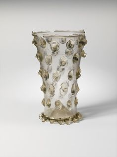 Beaker Date: 15th century Culture: German Medium: Glass Dimensions: Overall: 4 5/8 x 2 15/16 in. (11.7 x 7.4 cm) at foot: 2 1/4 in. (5.7 cm) Classification: Glass-Vessels