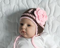 BABY GIRL FOOTBALL Crochet Football Baby Beanie Pink