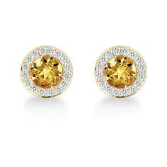 Carrington Citrine and Diamond Stud Earrings Earrings Jewellery (€43) ❤ liked on Polyvore featuring jewelry, earrings, citrine jewelry, diamond earrings, diamond stud earrings, diamond jewellery and diamond earring jewelry