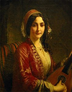 """The woman with the mandolin"" by Henri-Guillaume Schlesinger"