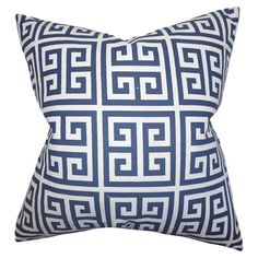 Bring a pop of pattern to your sofa or favorite reading nook with this eye-catching cotton pillow, featuring a Greek key motif. Made in the USA.