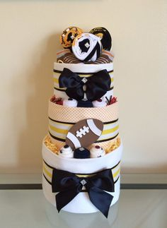 61f1c1c9f Football diaper cake DIY ideas for baby boy and baby girl | How to make  diaper