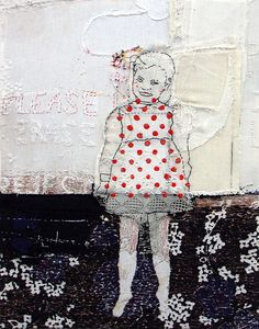 hinke Schreuders. little girls (2) · 2005 · garen en acryl op doek · 37,5 x 29,5 x 5,5 cm