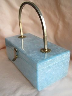 Vintage Marbled Blue Bombshell Lucite Purse!