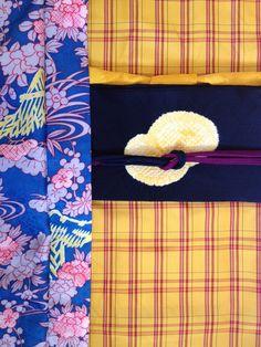 One day coordination ★ kimono: kihachijo  /  obi: yellow tie-dye