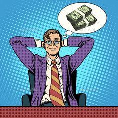 Man Dreams About Money by studiostoks Man dreams about money pop art retro style. Wealth earnings Finance. The lottery of revenue profit
