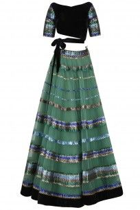 Green Sequins Embroidered Lehenga and Black Blouse Set