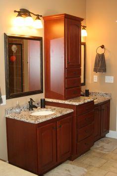 His & Her sinks & storage #bathrooms www.legacycrafted.com