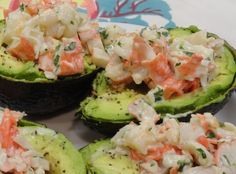 Cilantro Lime Seafood Salad (in an avocado boat) -Lime juice, cumin and cilantro  with shrimp and avocado!