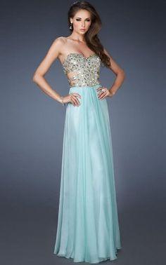 Strapless Crystal Embed Sparkle Cutout Bodice Long Dress La Femme 18602 Light Blue