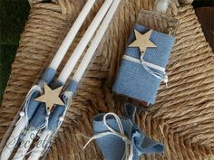 Picture of Λαδοσέτ βάπτισης με ξύλινο αστεράκι Little Star, Christening, Projects To Try, Greek, Party Ideas, Wedding Ideas, Stars, Decorated Candles, Crosses
