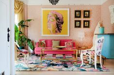 These seven homes just might convince you to get your ROYGBIV on, sofa style. Pink Shower Curtains, Pink Couch, San Francisco Houses, Rainbow Decorations, Kitchen Paint Colors, Urban Loft, Sofa Styling, Bedroom Ceiling, Room Wallpaper