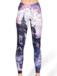 Haunted House Purple MF Leggings (WW $75AUD / US $60USD) by Black Milk Clothing