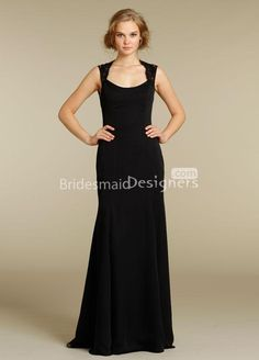 Cheap Black Chiffon Long Bridesmaid Dress with Lace Shoulder Straps is on  Sale! Buy Black Chiffon Long Bridesmaid Dress with Lace Shoulder Straps at  ... 17e1797c94f8