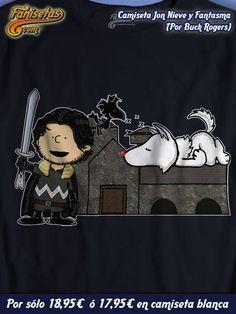 """Charlie Snow y Fantasnoppy son """"Jon Nieve y Fantasma"""" de #JuegoDeTronos al estilo #Snoopy por #BuckRogers! #Camisetas #Parodia #Fanisetas http://www.fanisetas.com/camiseta-jon-snow-ghost-p-5153.html"""