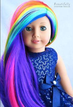 This rainbow hair looks so pretty on this doll