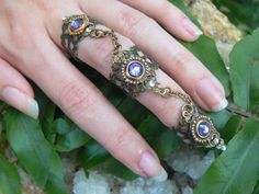 Swarovski triple armor ring  nail ring nail claw by gildedingypsy, $33.00