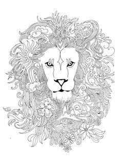 Drawn by me. Archival print from one of my drawings, signed and dated on the front. Smooth paper is great for coloring with marker or colored pencil! Printed on Acid Free 192 gsm. Lion Coloring Pages, Cat Coloring Page, Coloring Pages To Print, Printable Coloring Pages, Coloring Sheets, Coloring Books, Mandalas Painting, Design Tattoo, Paper Embroidery