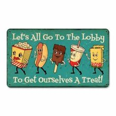 Snacks Go To Lobby Vintage Metal Sign Drive In Intermission 14 X 8 Not Tin