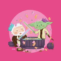 Star Wars Christmas Card. Two Jedi Masters, Yoda & Obi Wan Kenobi having a dispute over a board game during the festive period.