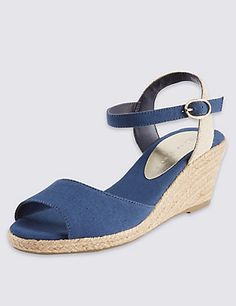 Open Toe Wedge Espadrilles | M&S