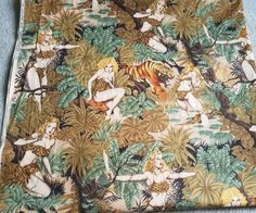"""Rare, OOP """"Tonga Of The Jungle"""" Fabric By Alexander Henry; 2 yards + 4"""" length 