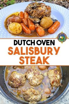 Easy Dutch Oven Salisbury Steak Recipe for Camping Looking for a hearty camping recipe? Make this easy Dutch Oven Salisbury Steak with mushrooms recipe on your next trip or make it at home in a slow cooker. Camping Dishes, Camping Meals, Camping Recipes, Camping Cooking, Oven Cooking, Camping Tips, Vegetarian Camping, Frugal Recipes, Truck Camping