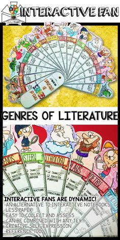 LITERATURE GENRES, FILL IN ORGANIZER, TYPES OF READING, INTERACTIVE FAN | Reading | ELA | This new Genres of Literature learning tool is so much fun and loaded with visuals to boost your reading lessons. Teachers will build their students' confidence one interactive fan at a time. In every interactive fan you'll find a variety of fill-ins ready for students to complete guided notes, concepts, definitions, characters, notable people, images, key terms, research opportunities, skill building…