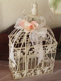 Small Ivory Birdcage Wedding Card Holder / by TreasuredCelebration
