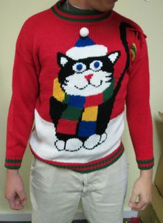 Best in Show Mega Huge Cat Hilarious Ugly Christmas Sweater Mens M Womens | eBay