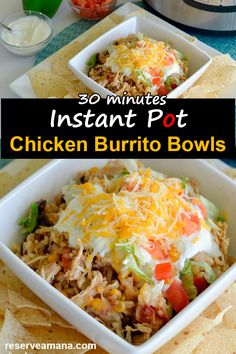 Just 30 minutes total time easy all-in-one dinner Instant Pot Shredded Chicken Burrito Bowls Recipe have all your favorite ingredients found in a burrito but served in a delicious burrito bowl where you can add all your favorite toppings. Shredded Chicken Burrito, Chicken Burrito Bowl, Burrito Bowls, Chicken Burritos, Mexican Chicken Recipes, Chicken Pasta Recipes, Healthy Chicken Recipes, Instantpot Chicken Recipes, Healthy Shredded Chicken Recipes