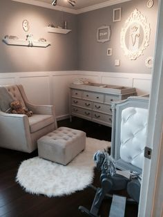 Gray and white walls with chair rail