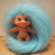 1960s Troll Dolls   Vintage 1960s Dam UK Rego Des Troll Doll Cotton Candy Blue Mohair ...