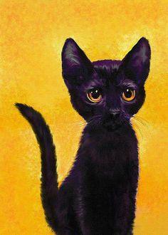 Un petit chat noir appelé Lulu. Lulu est né de l'artisteJane Schnetlag