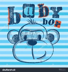 Baby boy Monkey illustration on stripe background with stitch and patch effect. monkey / T-shirt graphics / cute cartoon characters / cute graphics for kids / Book illustrations / textile graphic