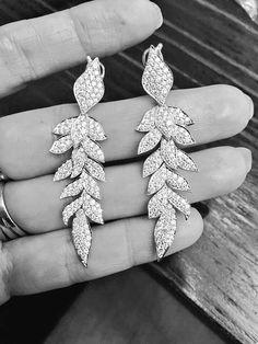 Beautiful Diamond Leaf Earrings by Kat Florence