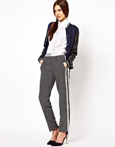 ASOS Trousers in Spot Print with Contrast Panel