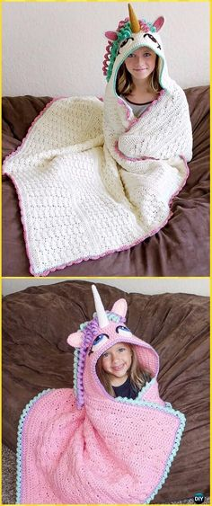 Crochet Hooded Unicorn Blanket Paid Pattern- Crochet Hooded Blanket Patterns