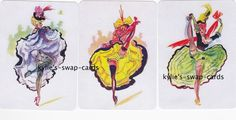A22 SET OF 3 swap playing cards MINT COND risque French Can Can Dancers LINEN #2